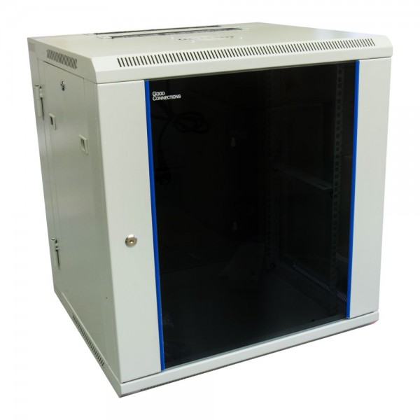 "19"" Wandgehäuse, 12HE, lichtgrau (RAL7035) Rückseite schwenkbar, 600 x 550mm, fertig montiert, mit Lüfter, Good Connections®"