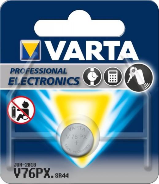 Varta® Knopfzelle (V76 PX) Silberoxid-Zink, SR44, 1,55V, 145mAh