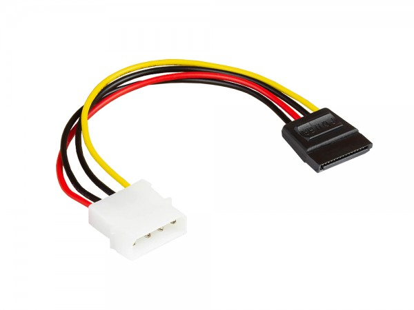 S-ATA Stromkabel 1x 4pin Stecker an 15pin Buchse, Länge: ca. 15cm, Good Connections®
