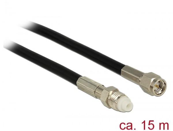 Antennenkabel FME Buchse an SMA Stecker RG-58, schwarz, 15m, Delock® [12452]
