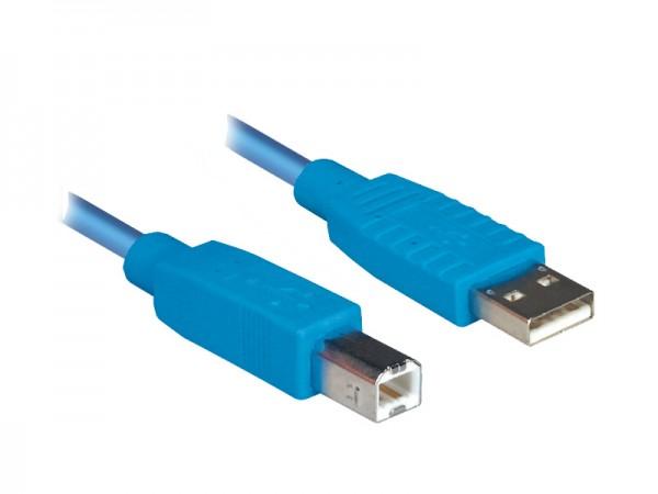 Anschlusskabel USB 2.0 Stecker A an Stecker B, blau, 1,8m, Good Connections®