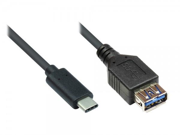 Adapterkabel USB 3.1 C Stecker an USB 3.0 A Buchse, 0,2m, Good Connections®
