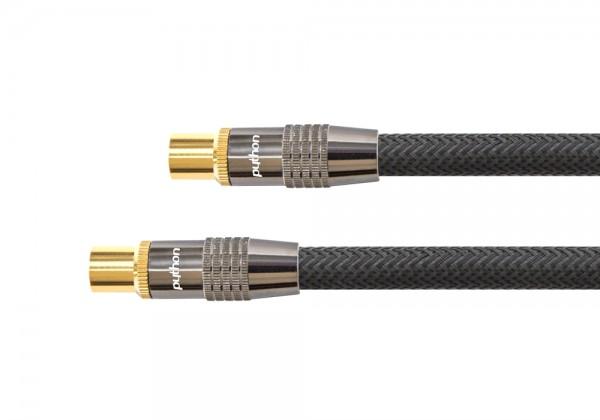 Antennenkabel, IEC/Koax Stecker an Buchse, vergoldet, Schirmmaß 120 dB, 75 Ohm, Nylongeflecht schwarz, 3m, PYTHON® Series