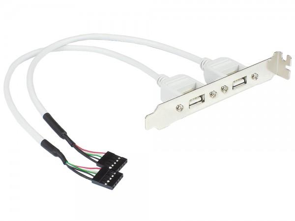 USB 2.0 Slotblech-Adapter 2-fach, 2x 5pol Anschluss intern