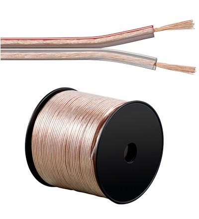 Lautsprecherkabel Basic, 2x 0,75mm², Innenleiter CCA, transparent, 100m Spule, Good Connections®