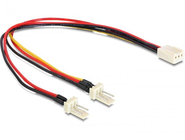 Kabel Molex 3 Pin Buchse an 2 x Molex 3 Pin Stecker (Lüfter) 22 cm, Delock® [89343]