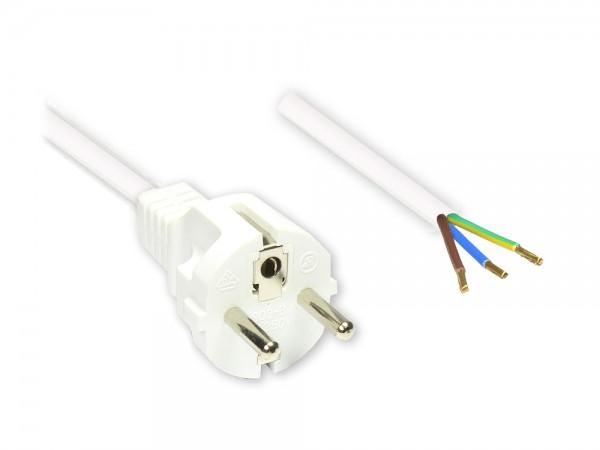 Netzkabel Schutzkontakt-Stecker gerade mit abisolierten Enden, weiss, 1,5m, Good Connections®