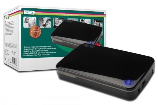 Externes Laufwerksgehäuse 3.5, USB 3.0 SATA, für SATA HDD 3.5, inkl.Netzteil 12V/2A OTB-funktion,Chipsatz:JMS539B Digitus® [DA-71035]