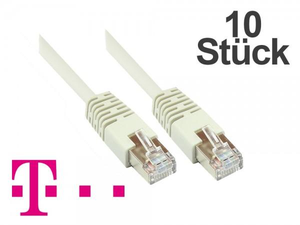 Telekom® Patchkabel, 10er PACK, Cat. 5, F/UTP, grau, zum Verbinden von Router, DSL Modem usw. 5m