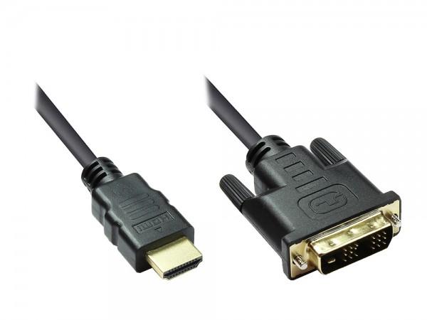 HDMI 19pol Stecker auf DVI-D 18+1 Stecker Anschlusskabel, vergoldet, 3m, Good Connections®
