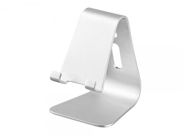 Desktophalter für Smartphones und Tablet PCs, aluminium, silber