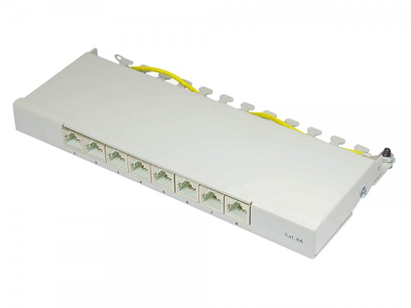 Patch Panel Desktop Cat. 6A, geschirmt, STP, 0,5 HE, 8-Port, lichtgrau RAL7035, Good Connections®