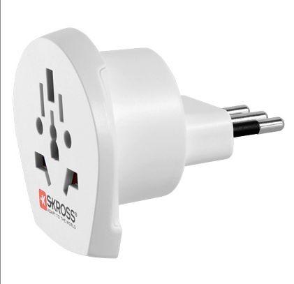 Stromadapter Schutzkontakt-Stecker Universal / Italien, 2-und 3-Pol, weiß, SKROSS®