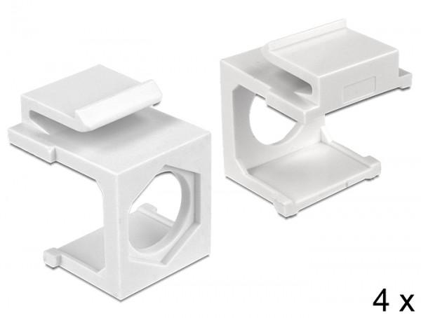 Keystone Abdeckung weiß mit Durchführung Hex 4 Stück, Delock® [86333]
