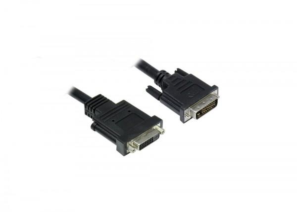 Verlängerung DVI-D 24+1 Stecker an Buchse, schwarz, 3m, Good Connections®