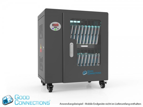 Tablet-Ladewagen für bis zu 20 Geräte, UV-C Desinfektion, Smart Control, Synchronisierungsfunktion für iOS/Android, schwarz, Good Connections®