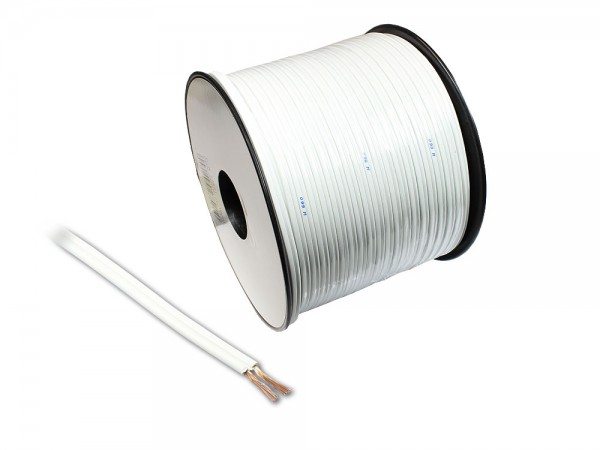 Lautsprecherkabel Basic, 2x 0,75mm², Innenleiter CCA. weiß, 100m Spule, Good Connections®