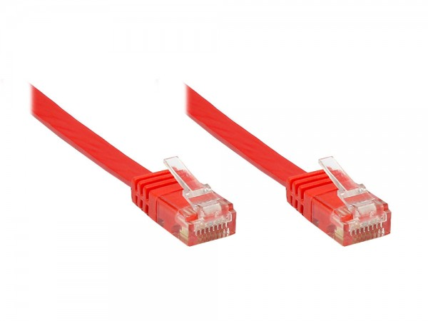 Patchkabel, Cat. 6, U/UTP, FLACHKABEL, rot, 20m, Good Connections®