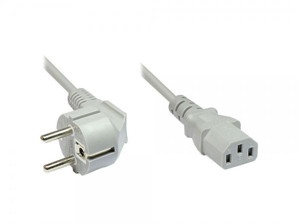 Netzkabel Schutzkontakt-Stecker an Kaltgeräte-Buchse, Typ F an C13, 5m, beige/grau, Good Connections®