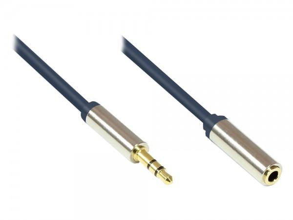 Audio Anschlusskabel High-Quality 3,5mm, Klinkenstecker an Klinkenbuchse Vollmetallgehäuse, dunkelblau, 2m, Good Connections®