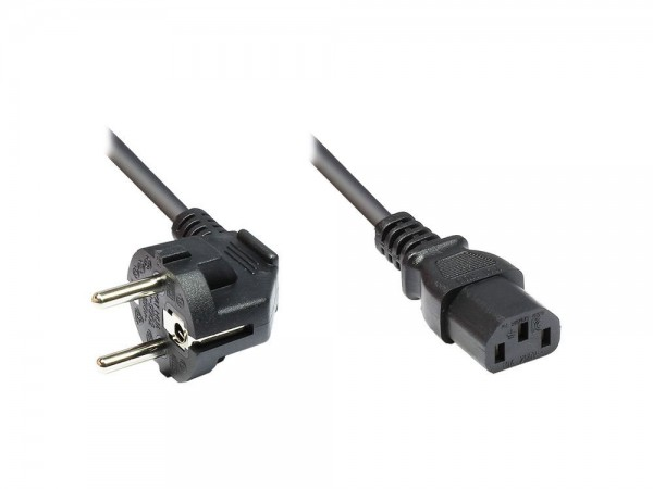 Netzkabel Schutzkontakt-Stecker an Kaltgeräte-Buchse, Typ F an C13, 5m, Good Connections®