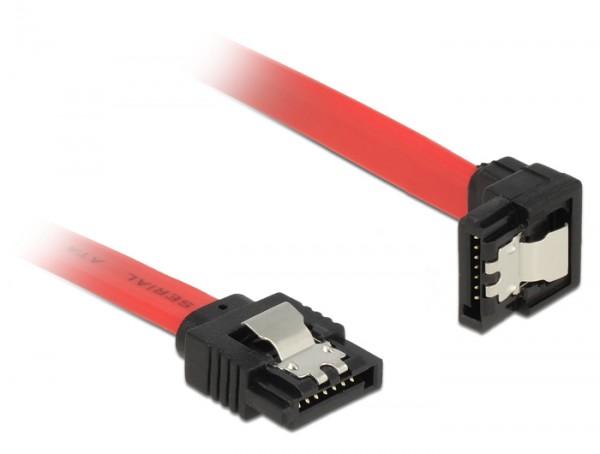 Anschlusskabel SATA 6 Gb/s Stecker gerade an SATA Stecker unten gewinkelt Metall, rot, 0,5m, Delock® [83979]