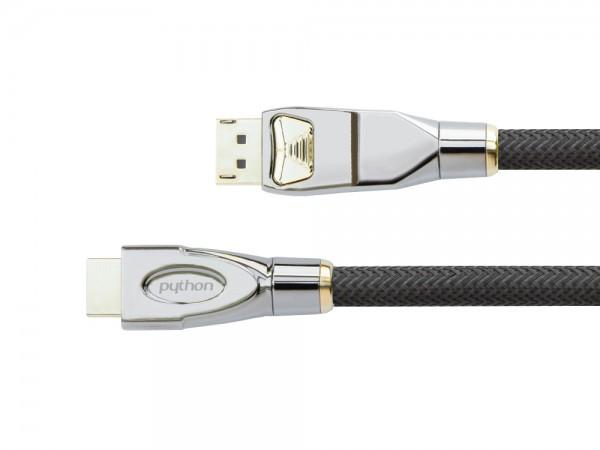 Anschlusskabel DisplayPort 1.2 an HDMI 2.0, 4K2K / UHD, 24K vergoldete Kontakte, OFC, Nylongeflecht schwarz, 2m, PYTHON® Series