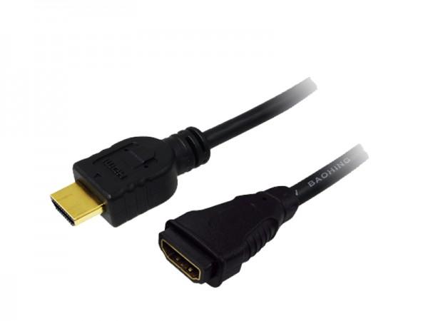 Verlängerungskabel HDMI-High-Speed 1.4 mit Ethernet, A Stecker an A Buchse, vergoldete Kontakte, schwarz, 2m, LogiLink® [CH0056]