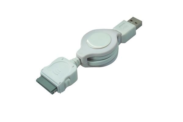 USB-A-Stecker an 30-pol iPOD-Stecker, ausziehbar, 0,75 m