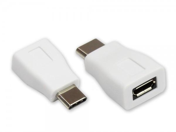 Adapter USB 2.0, USB-C-Stecker an USB 2.0 Micro B Buchse, weiß, Good Connections®