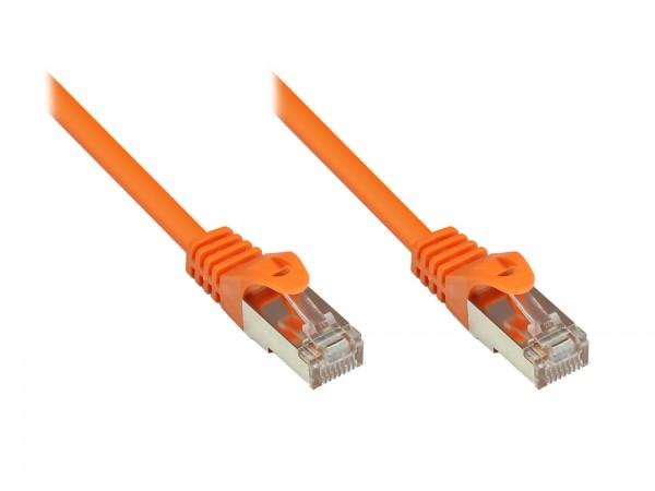 RNS® Patchkabel mit Rastnasenschutz, Cat. 5e, SF/UTP, PVC, 100MHz, orange, 0,15m, Good Connections®