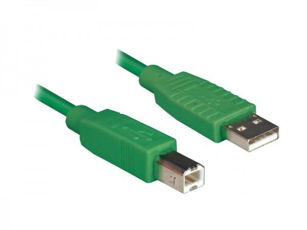 Anschlusskabel USB 2.0 Stecker A an Stecker B, grün, 1,2m, Good Connections®