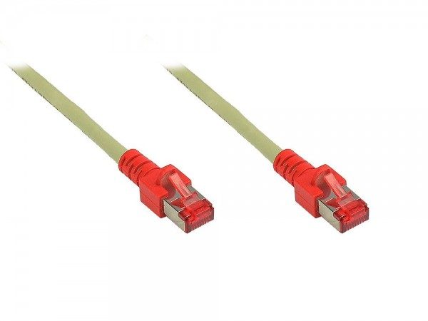 Patchkabel, Cat. 6, S/FTP, PIMF, halogenfrei, crossover, grau/rot, 15m, Good Connections®