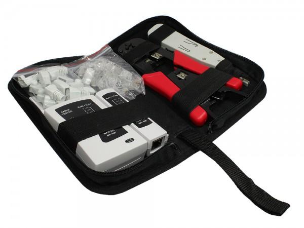 Universal Netzwerk Werkzeug Kit 6 in 1, inkl. 20x RJ45 Stecker/-Knickschutztüllen, Good Connections®