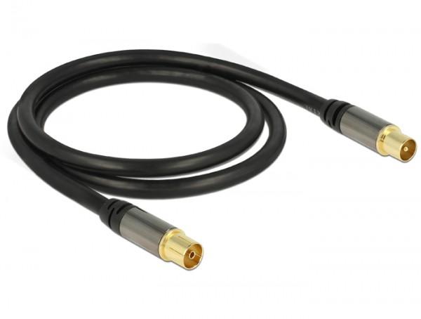 Antennenkabel IEC Stecker an IEC Buchse RG-6/U 1 m schwarz, Delock® [88922]