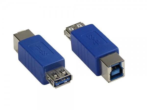 Adapter USB 3.0 Typ A Kupplung auf Typ B Kupplung, blau, Good Connections®