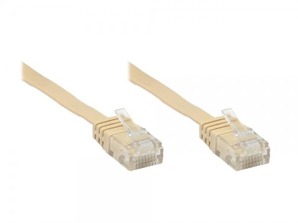 Patchkabel, Cat. 6, U/UTP, FLACHKABEL, 7m, hellbraun, Good Connections®