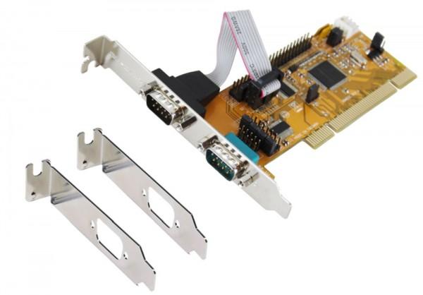 PCI 2S Seriell RS-232 Karte inkl. Low Profil Bügel (SystemBase Chip-Set), Exsys® [EX-43062]
