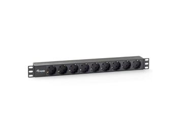 """Equip® Steckdosenleiste 19""""(1HE) 9-fach Schutzkontakt, 1,8m Kabel, schwarz [333282]"""