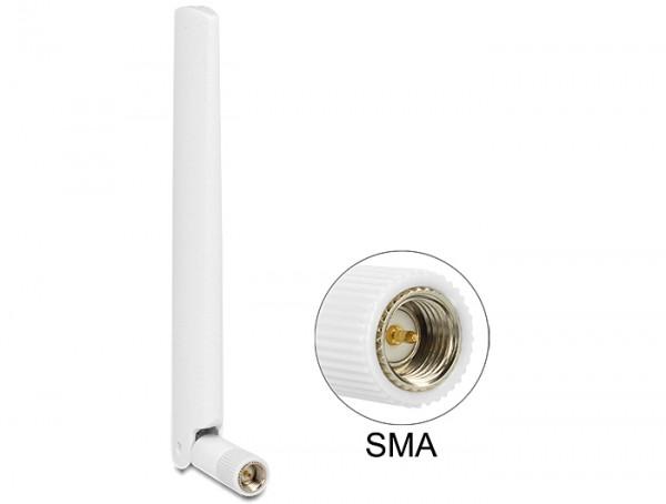 LTE Antenne SMA 1 ~ 2,5 dBi omnidirektional mit Kippgelenk weiß, Delock® [88790]