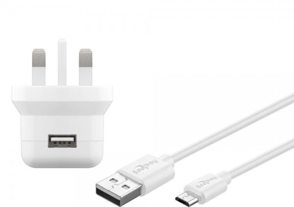 UK USB-Ladegerät, 1 Port, 2,1A, inkl. Anschlusskabel USB Micro B an USB A Stecker, weiß , 1m