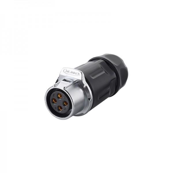 Industrie-Steckverbinder S1 - Power (4-Pin) Buchsenstecker mit Klick-Arretierung, Lötanschluss, M20, IP65/67, Good Connections®