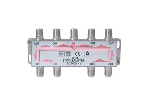 SAT Stammverteiler mit F-Connectoren 8-fach