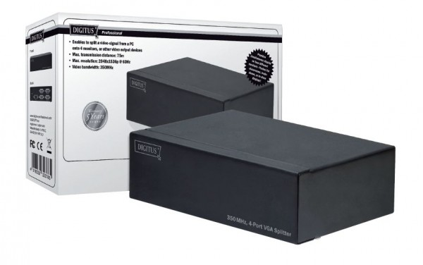 VGA Splitter, 350MHz, 4-Port, DIGITUS® [DS-42100]