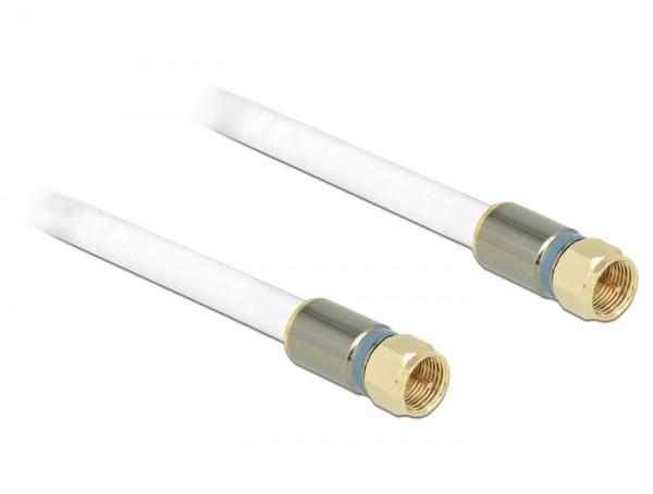 Antennenkabel F Stecker an F Stecker RG-6/U quad shield 10 m weiß Premium, Delock® [88998]