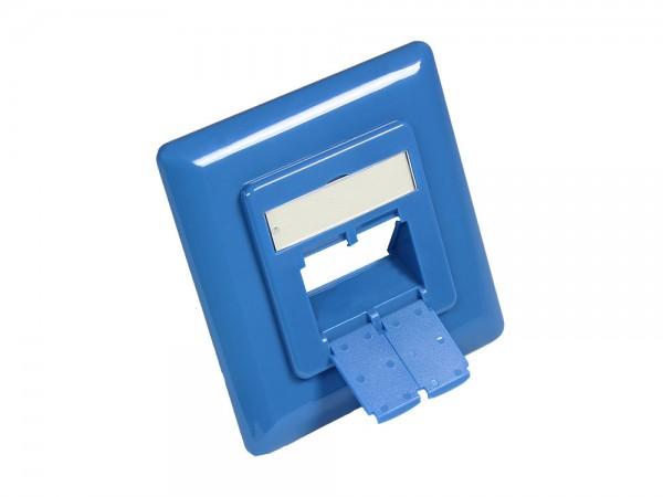 Zentralstück 50x50mm inkl. Abdeckrahmen 80x80mm für Netzwerkdosen, himmelblau RAL5015, Good Connections®