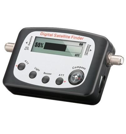 Digitaler Satelliten Finder (LCD-Anzeige) mit Kompass und Ton, inkl. F-Anschlusskabel, Good Connections®