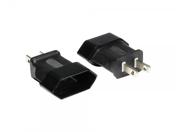 Stromadapter, USA 2pin Stecker auf Euro 2pin Buchse, Good Connections®