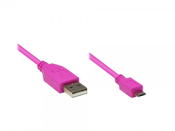 Anschlusskabel USB 2.0 Stecker A an Stecker Micro B, pink, 1m, Good Connections®