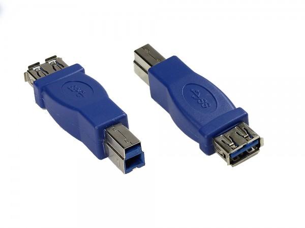 Adapter USB 3.0 Typ A Kupplung auf Typ B Stecker, blau, Good Connections®